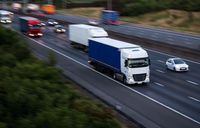 Trucks driving